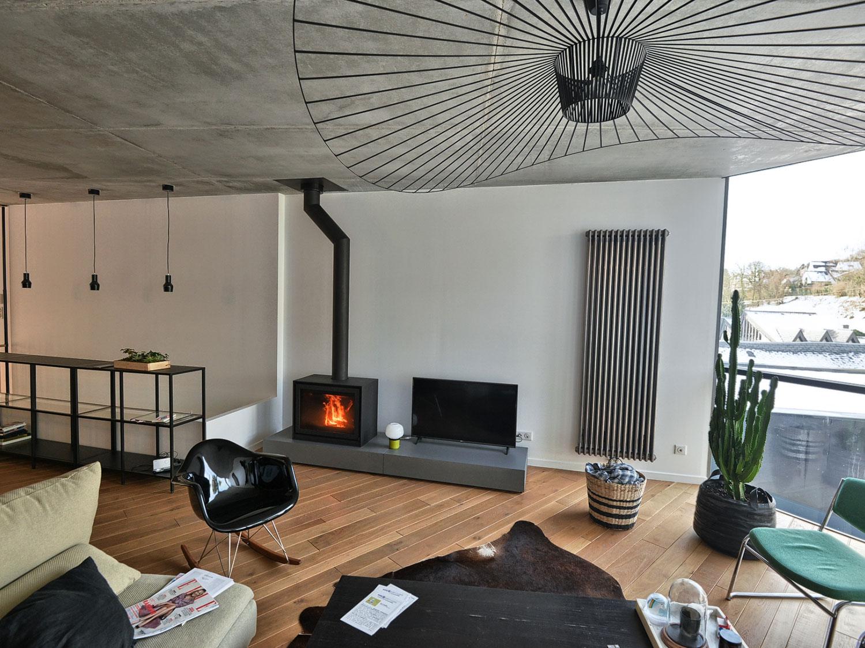 Foyer à gaz dans une maison récente de Mont-Saint-Aignan