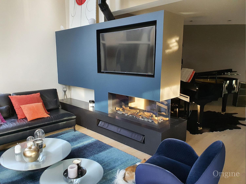foyer room divider gaz TV encastree